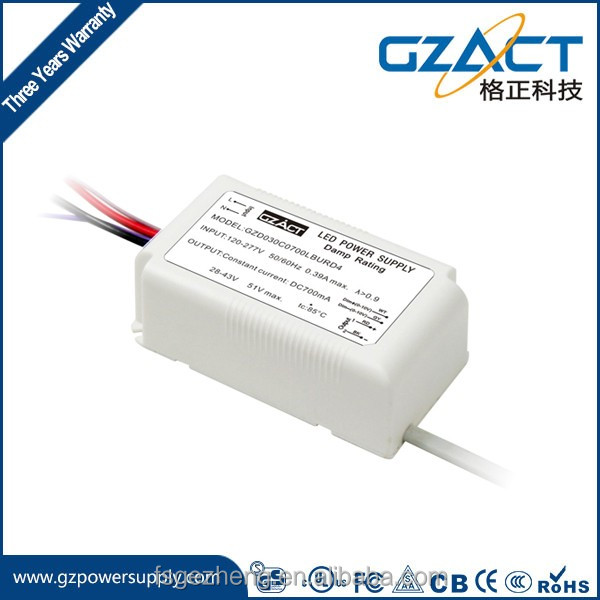 TUV CE SAA CCC 0-10V led driver 30w 700ma dimmable for LED down light