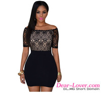 Wholesale Dropship Women Black Lace Mini Dress