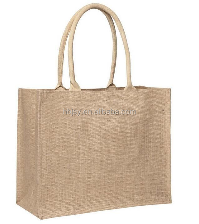 Jute Hessian Large Luxury Plain Shopping Bag Padded Handles laminated inside jute carrying tote bags
