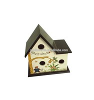 Wooden bird nest,decorated wooden bird house