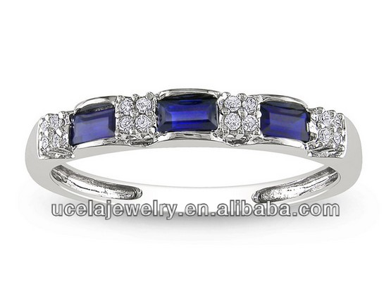 Top Design arabic 10k White Gold masonic Sapphire and Diamond Ring antique wedding ring