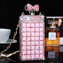For iPhone 4 5 5s 6 6plus Diamond Rhinestone Luxury Perfume Bottle Phone Case