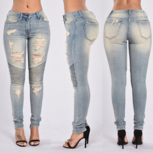 HT-WJW Latest Hot Sale Women's Denim Stretch Jeans Destroy Skinny Ripped Pants New Fashion Girls Sexy Tight Jeans