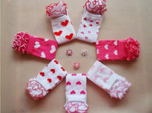 Valentines day! lovely heart ruffle newborn baby leg warmers knitting leg warmers for kids