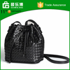 Whoelsale Elegant Ladies Woven Pu Bucket Bag With Cross Shoulder Strap