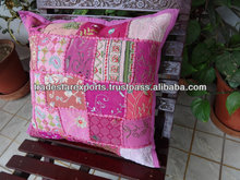 vintage Patchwork Cushion Covers, Decorative Cushions India , Old sari patch outdoor handmade cushion
