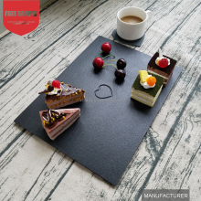 Modern Bar Restaurant Dinner Black Slate Stone Plate