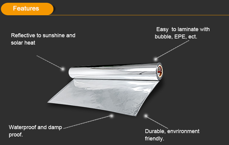 Metallized PET CPP BOPP Nylon films coating reflective insulation