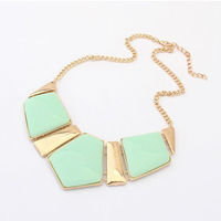 Gold Chain Candy Color Resin Statement Chunky Necklaces Jewelry