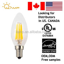 ul led lighting filament c35 a19 6w , 110lm/w alibaba shenzhen ilamp led