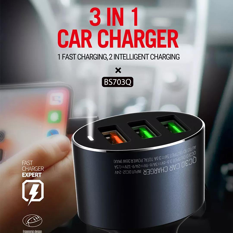 3 USB Car Charger 3.0 Quick Charger