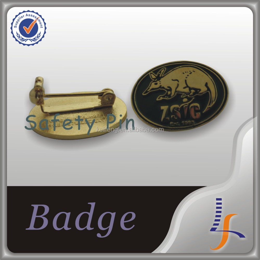 Custom logo badges with safety pin on back