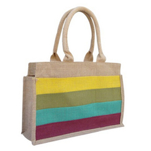 Custom stripe printed shopping tote bag jute