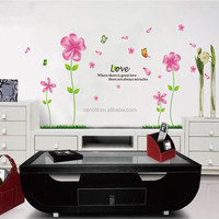 wall stickers pink floral Hot style popular wall bedroom the head of flowers dancing butterfly sitting room sofa background