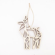New animal shape engraved hanging plaque laser cut wood ornaments