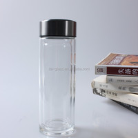 China supplier wholesale 280ml personalized fancy design glass water tumbler reusable recycled transparent glass drinking bottle