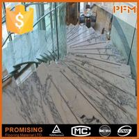 Luxury hotel project decoration natural marble deck stair handrail designs