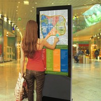 75 inch indoor digital signage totem interactive sensitive touch screen with Android at shopping mall