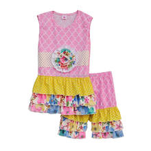 Baby girls floral icing shorts clothes ruffled rompers boutique remake clothing sets