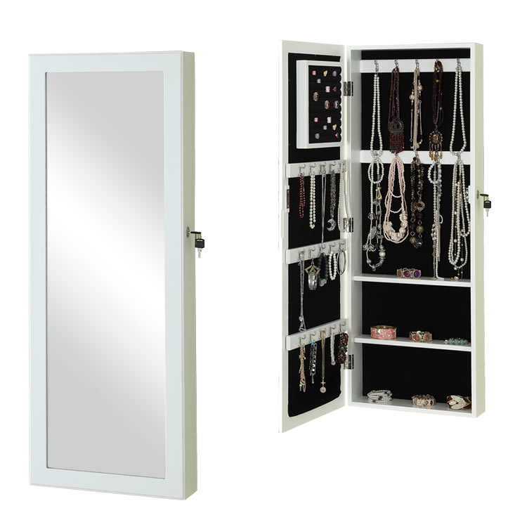 white wall mirror jewelry cabinet in bathroom