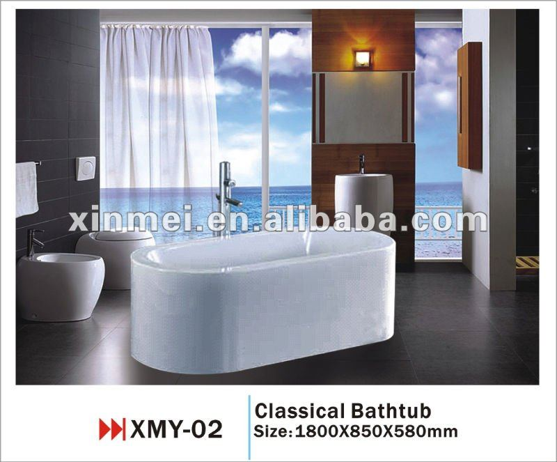 One piece square clawfoot tub