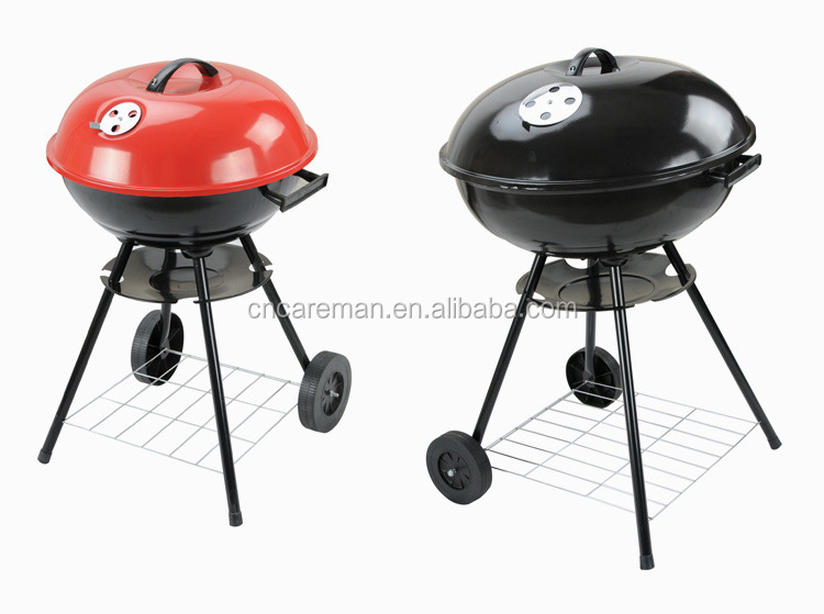 "17""/22"" Iron Charcoal Round Kettle Barbecue Grill, Apple Shaped Trolley Garden BBQ Grill w/Lid and 2 Wheels OEM Orders Accepted"