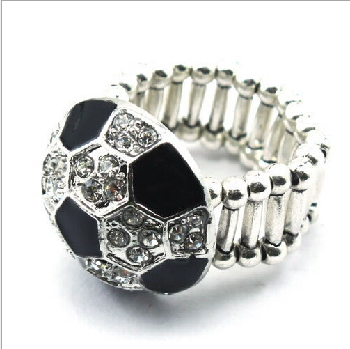 stylish finger rings new style silver alloy enamel crystal football custom cheap sports rings