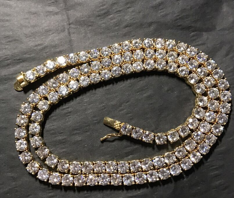 18k PVD Gold Plated Tennis Chain Hip Pop Diamond Iced Out Cuban Link Chain