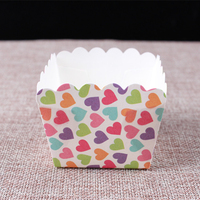 Colorful small heart printed square paper muffin baking cases for cake accessories