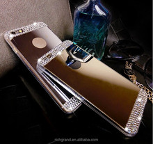 Luxury Mirror Effect Soft TPU Back Covr for iPhone 4 4s 5 5s 6 6s 6splus Crystal Diamond Rhinestone Cellphone Accessories
