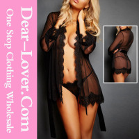 Dear lover 2016 sale Black Lace Trim Robe with Thong beautiful girls sexy nighties