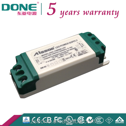 12w 300ma flicker free constant current isolated indoor done led driver with SAA CB CE CCC BIS FCC PSE