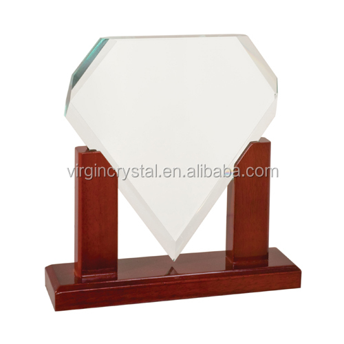 Wholesale Simple Design Block Clear Glass Awards with Black Crystal Embed as Anniversary Souvenir Gift