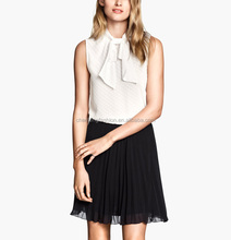 CHEFON Jacquard elastic spots woven tie neck sleeveless ladies blouses for waist skirts