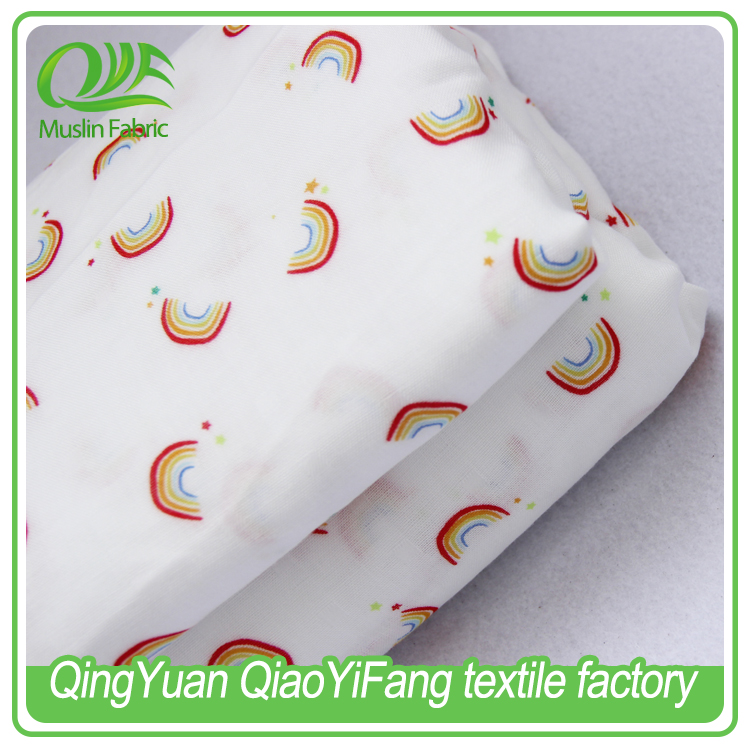 MOF 003 High quality, 70% Bamboo fiber 30% cotton muslin printed fabric