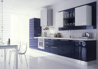 High quality glossy blue lacquer kitchen cabinets for I style kitchens