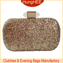 Fashionable Lady's Shiny Clutch Purses Bronze Glitter Sequins Evening Bag