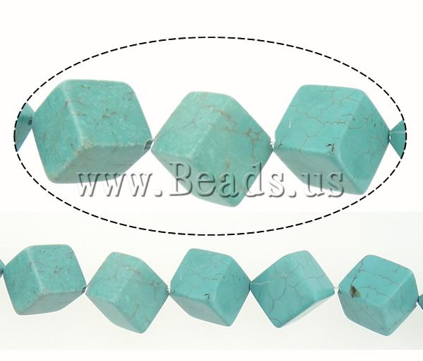 Free shipping!!!Turquoise Beads,Gift, Natural Turquoise, Cube, blue, 14x14x14mm, Hole:Approx 1.5mm, Length:Approx 16 Inch