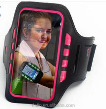 Personalized Logo Printed 5.5inch Neoprene Smartphone Safety LED lighted Armband Black Reflective for Sports Running LED Armband