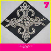 Hotfix Crystal Rhinestone Jewelry Applique Clear Rhinestone Applique 11.5x12.5cm