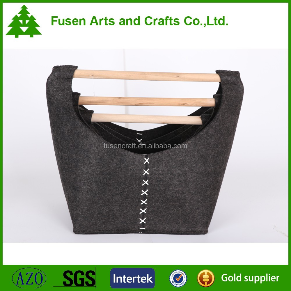 Best selling folding laundry basket felt basket with wood handle
