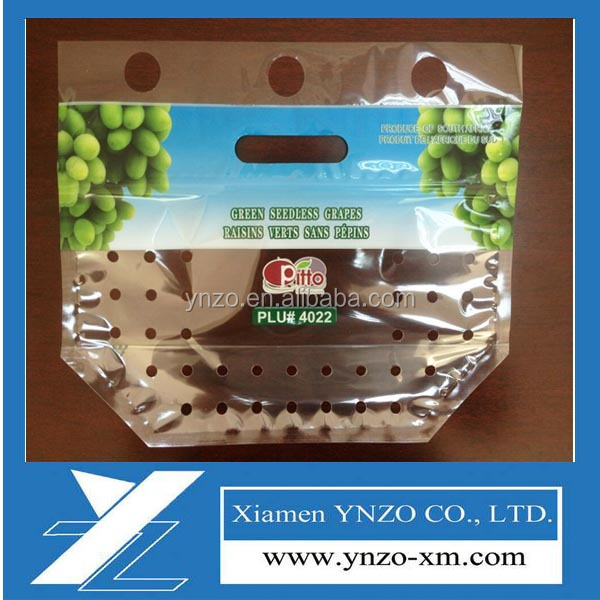 Plastic grape fruit, vegetable stock bag, opp/cpp laminated custom print vented grape bag with zipper