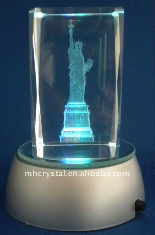 3D Laser Etch Crystal Tower Paperweight Statue Liberty MH-F0028