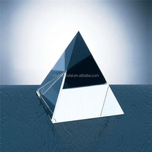 Laser engarved blank crystal glass pyramid paperweight 3D prism model for wholesale