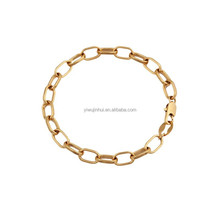21cm*6mm Flash gold Link Chain Bracelet,18k gold plated charm Bracelet