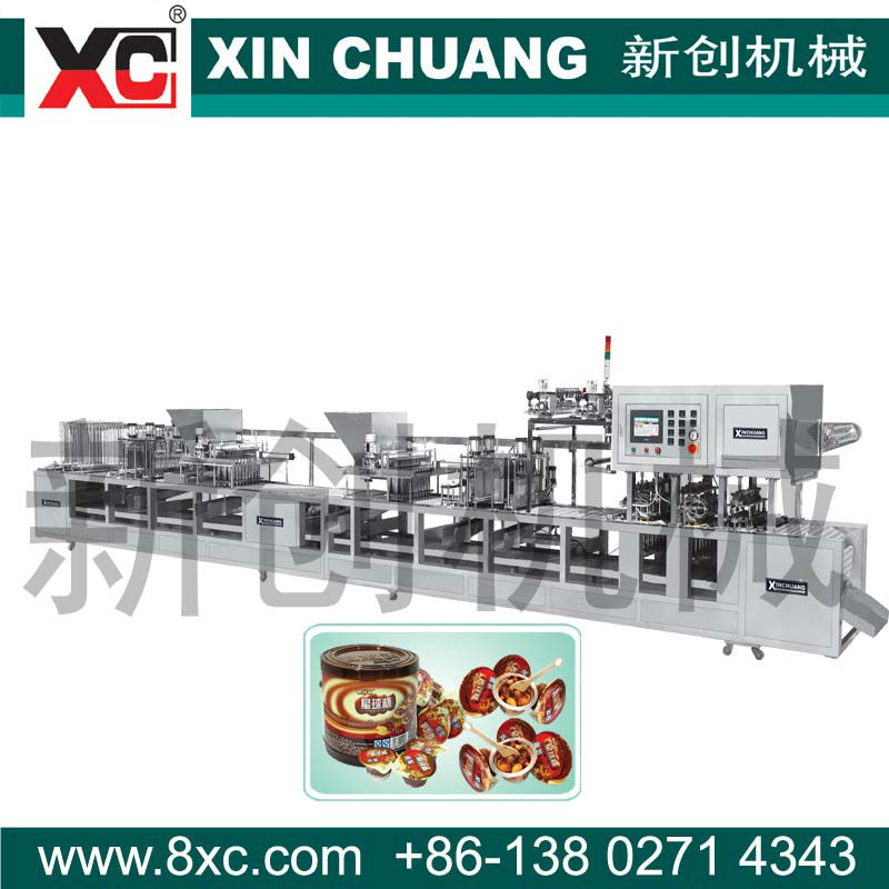 Two colors mini chocolate cup filling sealing machine