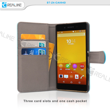 good quality convenient stand function a fold back magnet button design detachable flip leather phone case for sony z4