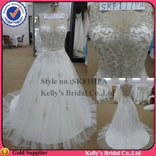 Attractive design V neckline Luxurious beaded top and ruffled skirt bridal wedding dress