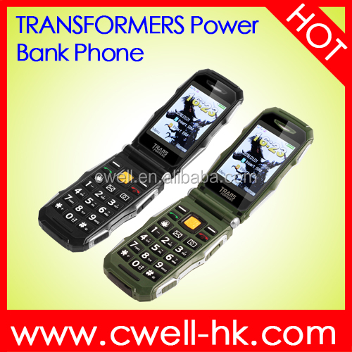 TRANS X10 1.77/2.8 Inch Dual Screen Dual SIM Card Big Battery Transformer Power Bank Flip Phone