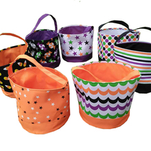 Wholesale Blanks 2016 Candy Pattern Multi Colors Stripe Halloween Buckets Baskets Candy Bag Trick or Treat Gift Bag DOM108349